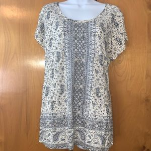 Lucky Brand 1X short sleeve soft paisley print top